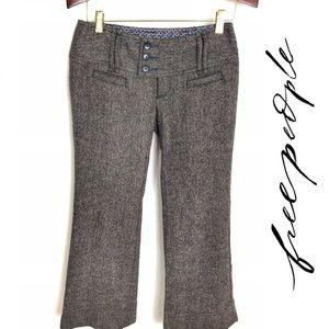 Free People Retro-Style Wool-Blend Tweed Trousers